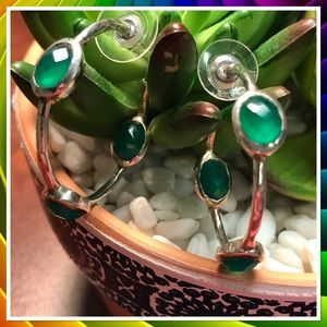 Sterling Silver & Green Stone Hoop Earrings